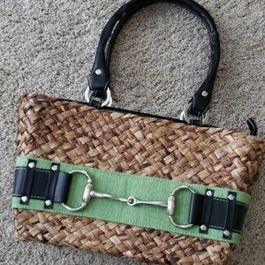 Handbags - Super cute woven bag with green and black straps.